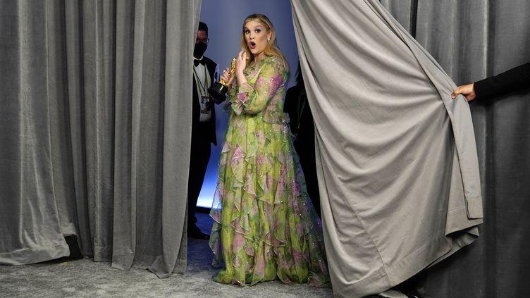 Emerald Fennell lors de la cérémonie des Oscars, le 25 avril 2021 à Los Angeles. (POOL / GETTY IMAGES NORTH AMERICA)