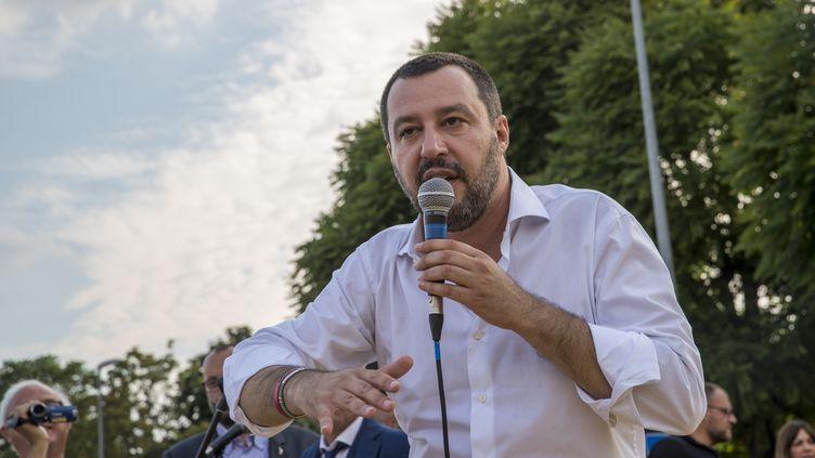 Matteo Salvini, ministre de l'Intérieur italien, lors d'une prise de parole à Turin (Italie), le 15 juin. (MAURO UJETTO / NURPHOTO / AFP)