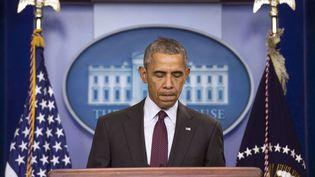 Le président des Etats-Unis, Barack Obama, lors de son discours après la fusillade de l'université Umpqua dans l'Oregon, le 1er octobre 2015. (NEWSCOM/SIPA)