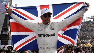 Lewis Hamilton célèbre sa quatrième titre de champion du monde de Formule 1 après le grand prix du Mexique. (ALFREDO ESTRELLA / AFP)