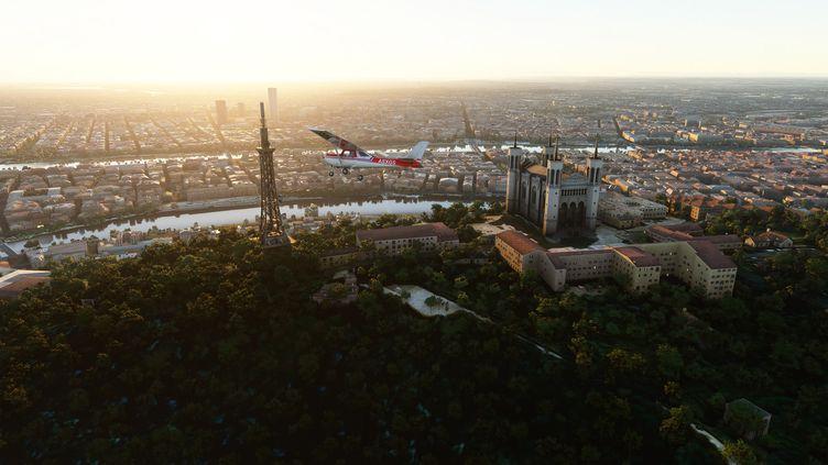 La colline de Fourvière à Lyon. Image du jeu Microsoft Flight Simulator. (MICROSOFT)