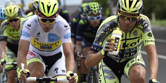 Peter Sagan (à gauche) à côté de son leader Alberto Contador (Tinkoff-Saxo)