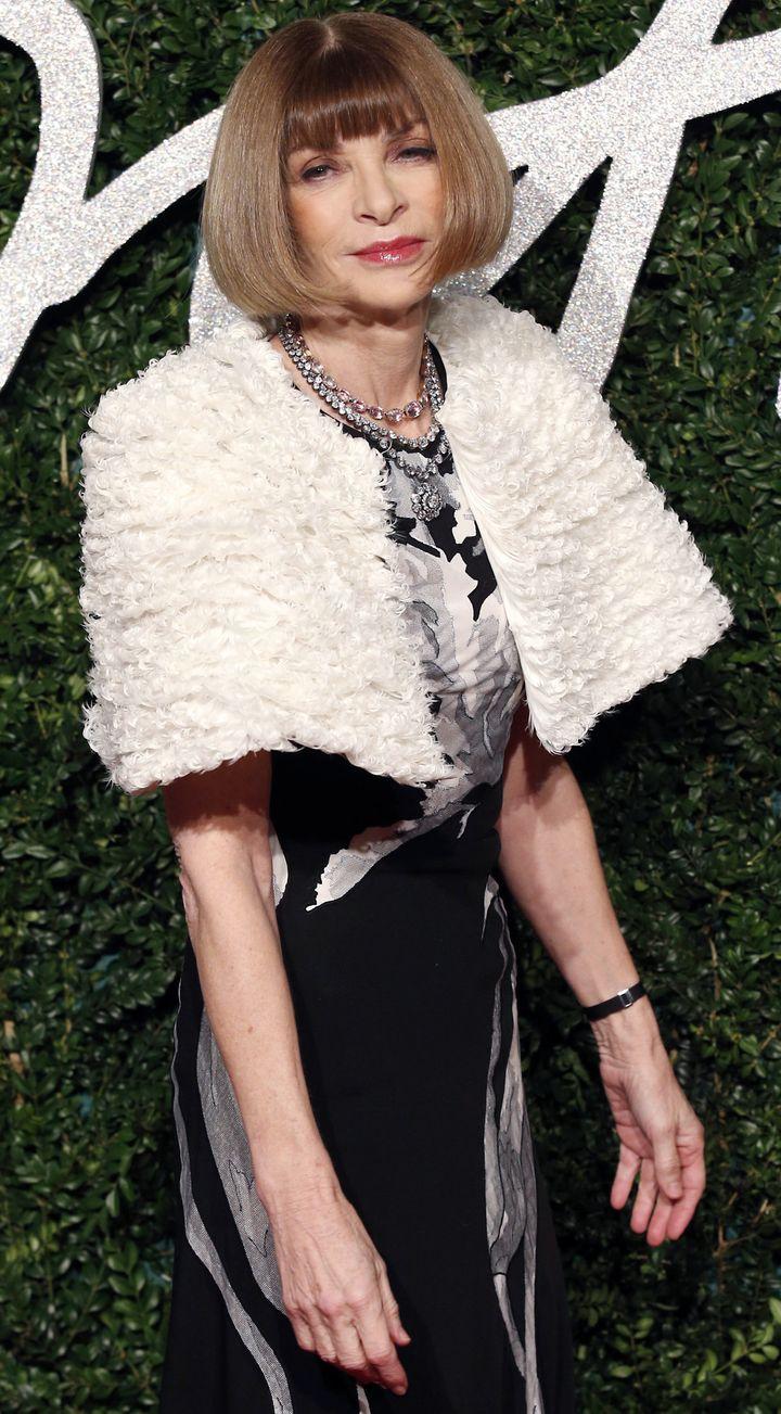 Anna Wintour habillée en Margiela pour les British Fashions Awards, déc 2014  (JUSTIN TALLIS / AFP)