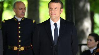 Le nouveau président de la République Emmanuel Macron lors de la commémoration de l'abolition de l'esclavage, aux jardins du Luxembourg à Paris, le 10 mai 2017. (PHILIP ROCK / AFP)