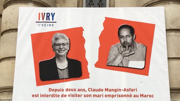 Affiche de la mairie d'Ivry représentant Claude Mangin interdite de visite de son mari Naâma Asfari, un indépendantiste sahraoui, détenu par les autorités marocaines depuis 2010. (Mairie d'Ivry)