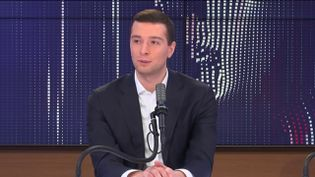 Jordan Bardella, vice-président du Rassemblement national et député européen, mardi 23 février sur franceinfo. (FRANCEINFO / RADIO FRANCE)