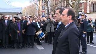 Le président de la République, François Hollande, rend hommage à la policière tuée à Montrouge, le 9 janvier 2016. (FRANCETV INFO)