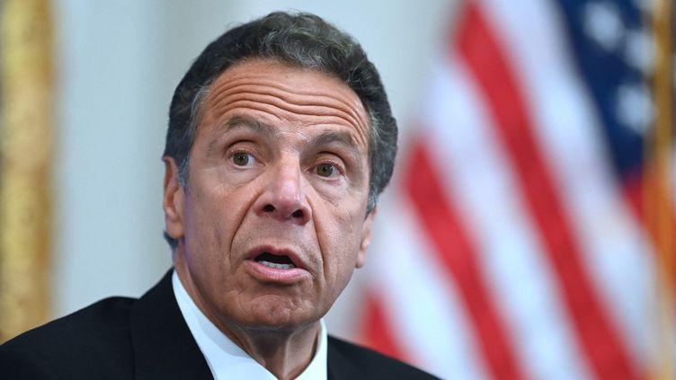 Le gouverneur de l'Etat de New York, Andrew Cuomo, le 26 mai 2020 dans le quartier de Wall Street, à New York. (JOHANNES EISELE / AFP)