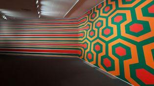 """""""To be continued"""", oeuvre du Suisse Philippe Decrauzat, présentée dans l'exposition de la fondation Vasarely. (ANNE CHEPEAU / RADIO FRANCE)"""