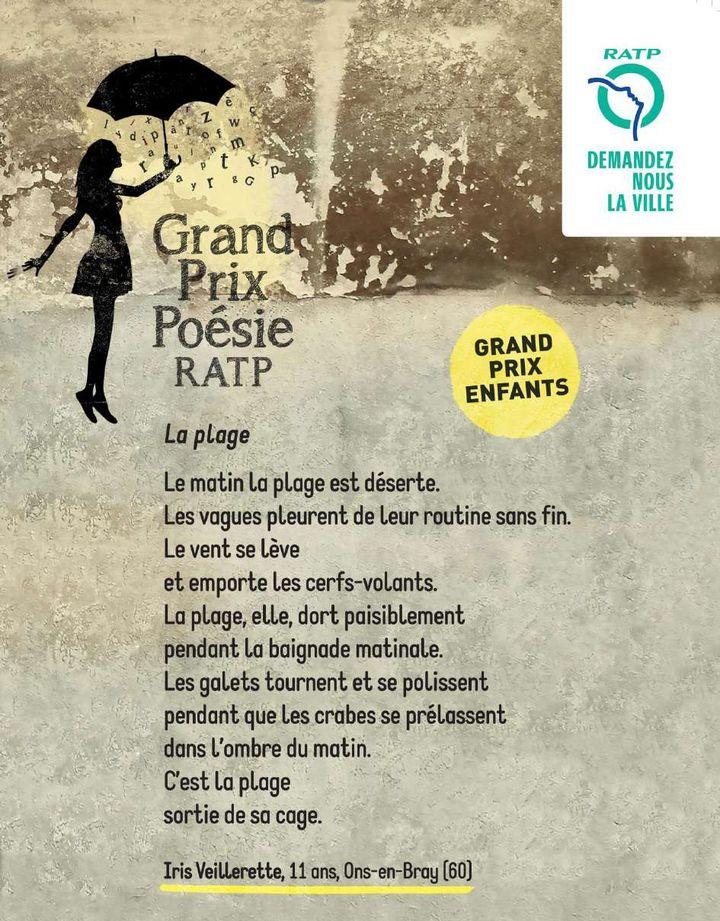 Poème signé Iris Veillerette, 11 ans, lauréate du Grand Prix Poésie 2019, catégorie enfant (RATP)