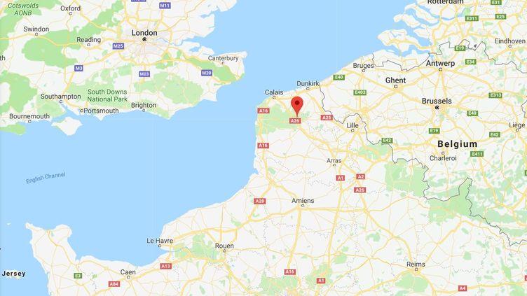 Capture d'écran deTatinghem (Pas-de-Calais) où un camp de migrants est démantelé, le 20 décembre 2017. (GOOGLE MAPS)