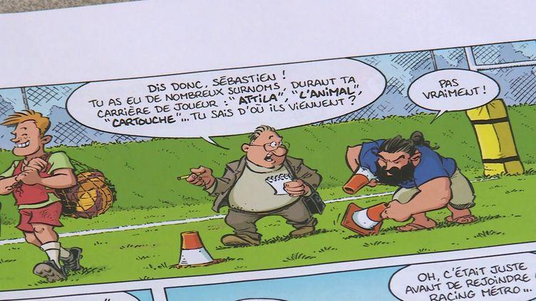 """Le détail d'une page des """"Rugbymen"""" (T19) de Poupard et Beka. (FRANCE 3 Capture d'écran)"""