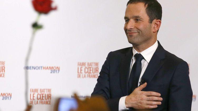 Le vainqueur de la primaire de la gauche, Benoît Hamon, à Paris, dimanche 29 janvier 2017. (FRANCOIS MORI/AP/SIPA)