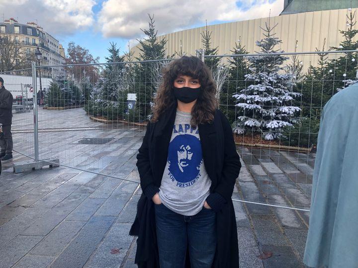 Lauren Houda Hussein à la manifestation des professionnels de la culture, à Paris, le 15 décembre 2020. (Manon Botticelli / Franceinfo Culture)