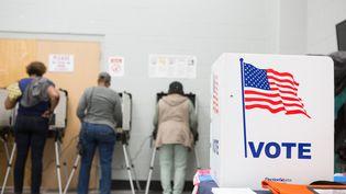 Des électeurs votent pour les élections de mi-mandat à Atlanta (Etats-Unis) le 18 octobre 2018. (JESSICA MCGOWAN / GETTY IMAGES NORTH AMERICA / AFP)
