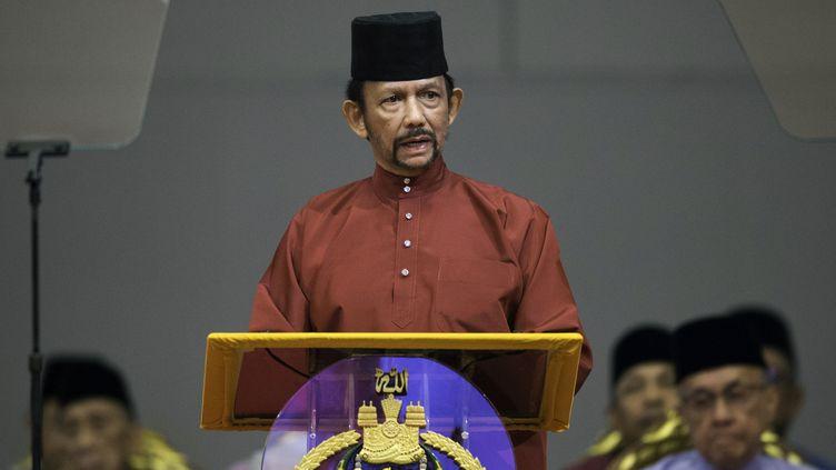 Le sultan du Brunei Hassanal Bolkiah, le 3 avril 2019 àBandar Seri Begawan (Brunei). (STRINGER / AFP)