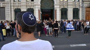 Un rassemblement duConseil représentatif des institutions juives de France, le 31 juillet 2014, à Lyon (Rhône). (ROMAIN LAFABREGUE / AFP)