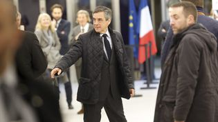 François Fillon, candidat à la présidentielle, au siège du parti LR à Paris, le 6 mars 2017. (ARNAUD JOURNOIS / MAXPPP)