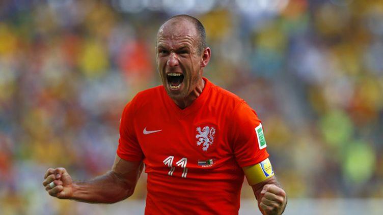 (La joie de Robben, l'artisan de cette qualification des Pays-Bas face au Mexique. © REUTERS/Eddie Keogh)