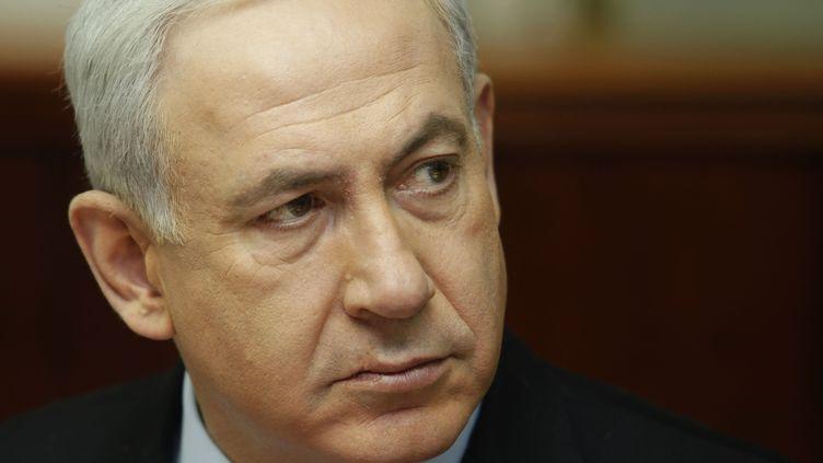 Le Premier ministre israélien Benyamin Netanyahu lors de la réunion hebdomadaire avec son cabinet, à Jérusalem, le 4 novembre 2012. (AFP PHOTO/POOL/GALI TIBBON)