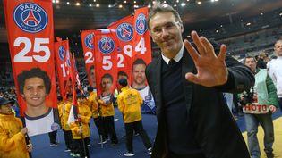 L'entraîneur du PSG, Laurent Blanc, lors de la finale de la Coupe de la Ligue PSG-Lyon, le 19 avril 2014 au Stade de France, à Saint-Denis. (JEAN CATUFFE / GETTY IMAGES EUROPE)