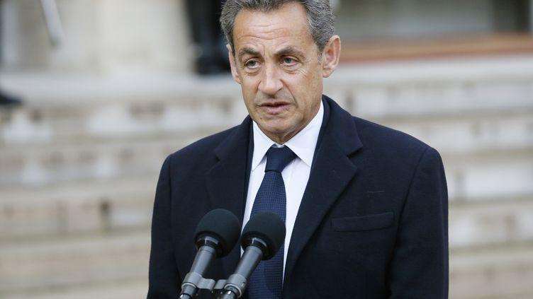 L'ancien président Nicolas Sarkozy, le 8 janvier 2015, à l'Eylsée, à Paris. (PATRICK KOVARIK / AFP)