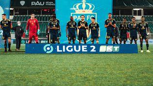 Les joueurs du Pau football club lors de leur rencontre contre Sochaux, le 15 décembre 2020, à Pau (Pyrénées-Atlantiques). (PAU FC)