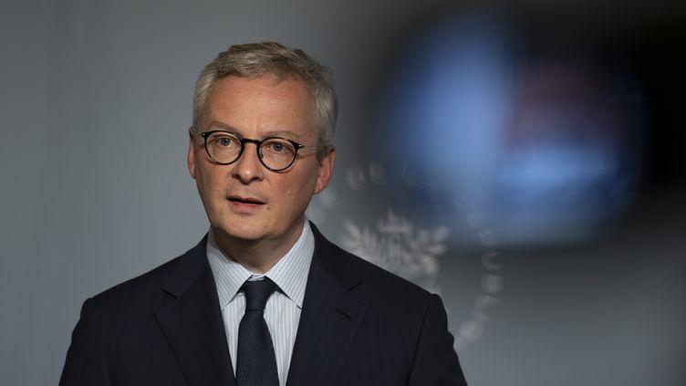 Le ministre de l'Economie Bruno Le Maire lors d'une conférence de presse à l'Elysée, le 8 avril 2020. (IAN LANGSDON / POOL)
