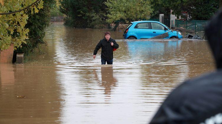 la commune de Roquebrune-sur-Argens, touchée par la crue du fleuve côtier Argens, le 24 novembre 2019. (PHILIPE ARNASSAN / MAXPPP)