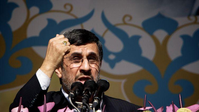 Le président iranien Mahmoud Ahmadinejad prononce un discours à l'occasion du 34e anniversaire de la révolution islamique, le 10 février 2013 à Téhéran (Iran). (BEHROUZ MEHRI / AFP)