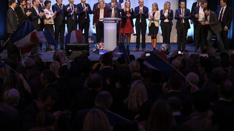Marine Le Pen à Paris, à la Maison de la chimie pour la convention du Rassemblement national pour les municipales, le 12 janvier 2019. ((LIONEL BONAVENTURE / AFP))