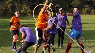 Tournoi de quidditch à Vincennes (Val-de-Marne). Photo d'illustration. (FRANCOIS GUILLOT / AFP)