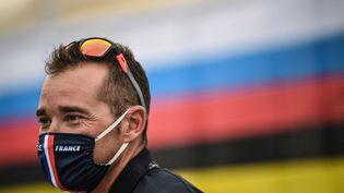 Thomas Voeckler, le sélectionneur de l'équipe de France de cyclisme sur route à Tokyo aux Jeux olympiques 2021. (MARCO BERTORELLO / AFP)