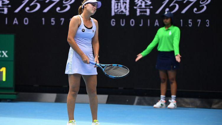 L'Américaine Sofia Kenin, éliminée dès le 2e tour de l'Open d'Australie 2021 par Kaia Kanepi à Melbourne le 11 février 2021 (WILLIAM WEST / AFP)