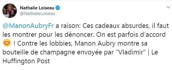 La députée centriste Nathalie Loiseau a soutenu Manon Aubry, députée insoumise, dans un tweet. (CAPTURE D'ECRAN TWITTER)