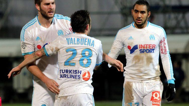 Mathieu Valbuena, alors joueur de l'OM, le 2 février 2014 lors d'un match au Vélodrome contre Toulouse. (ANGELIQUE SUREL / MAXPPP)