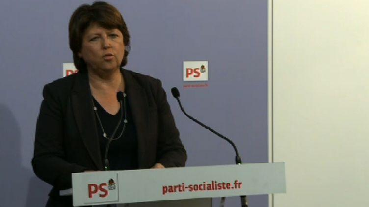 Martine Aubry, première secrétaire du PS lors d'un point de presse, le 15 novembre 2011. (Photos à partir d'une capture d'écran sur le site du PS.)
