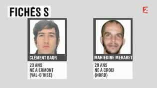Les portraits diffusé par la policede Clément BauretMahiedine Merabetarrêtés à Marseille (FRANCE 2)