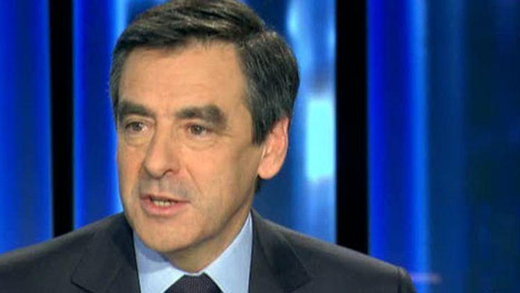 Le Premier ministre François Fillon jeudi, 17 mars, au JT de 20 heures de France 2. (F2)