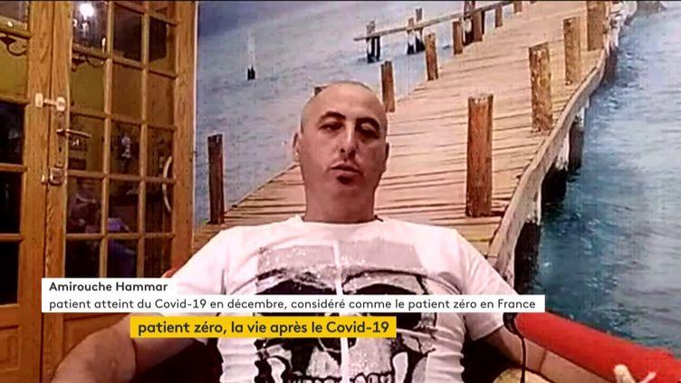 Amirouche Hammar, patient atteint du coronavirus en décembre et considéré comme le patient zéro en France, était l'invité du journal de 23h de franceinfo, jeudi 21 mai. (FRANCEINFO)