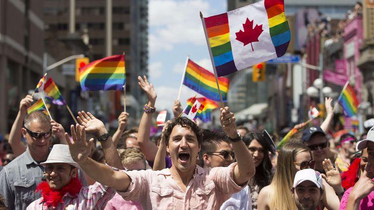 Justin Trudeau, Premier ministre canadien dans la Gay pride de Torontole 3 juillet2016  (MARK BLINCH / AP / SIPA)