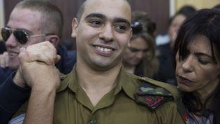 Le soldat franco-israélien,Elor Azaria,lors de son procès à la cour militaire de Tel Aviv (Israël), le 4 janvier 2017. (HEIDI LEVINE / AFP)