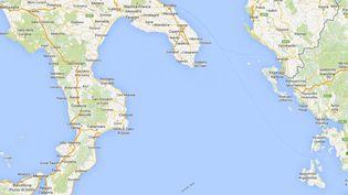 Un cargo transport 450 migrants a été repéré au large du Cap Leuca, près de la côte italienne, le 1er janvier 2015. (GOOGLEMAPS)