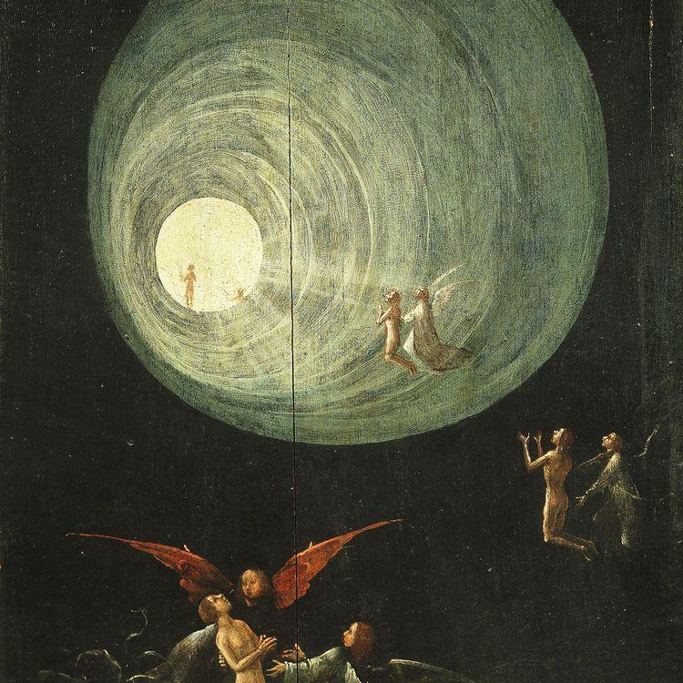 """Détail de la toile """"L'Ascension des élus"""" deJérôme Bosch (1500-1503). (GIANNI DAGLI ORTI / THE ART ARCHIVE / AFP)"""