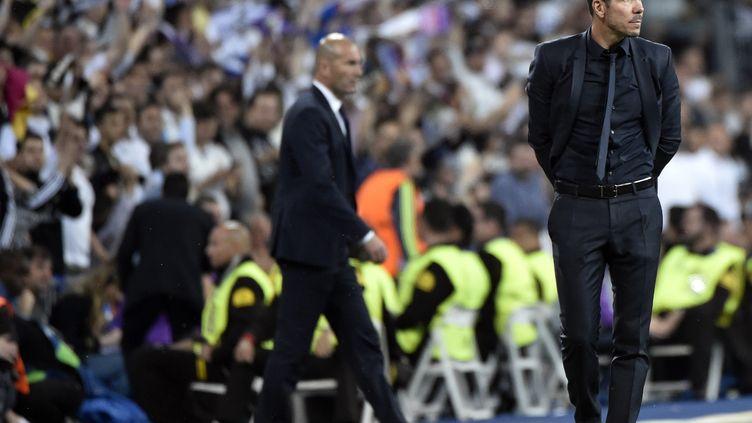 Diego Simeone lors de la demi-finale aller de C1 face au Real Madrid de Zinedine Zidane (GERARD JULIEN / AFP)