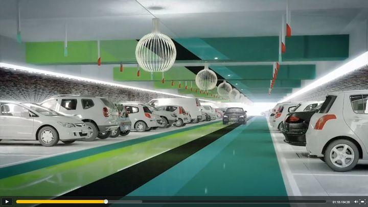 Capture d'écran d'une vidéo montrant le futur parking du centre commercial Aéroville (Val-d'Oise). (FRANCETV INFO)