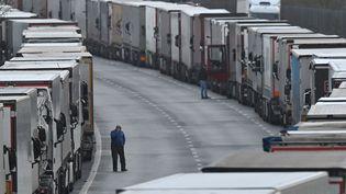 Des poids-lourds attendent la réouverture de la frontière avec la France, près du port de Douvres (Royaume-Uni), le 22 décembre 2020. (JUSTIN TALLIS / AFP)