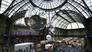 Plusieurs sponsors de la conférence climat participent à l'expositions Solutions COP21, le 4 décembre 2015, au Grand Palais, à Paris. (ALAIN JOCARD / AFP)