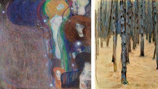 """A gauche, Gustav Klimt, """"Feu follet"""", 1903, collection privée européenne, Londres- A droite, Koloman Moser, """"Forêt de pins en hiver"""", c 1907, Belvédère, Vienne  (A gauche, Alfred Weidinger - A droite, Belvédère, Vienne)"""