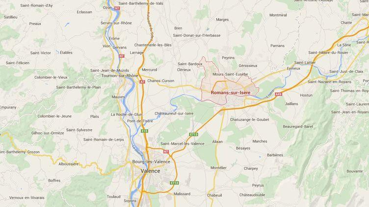 Un adolescent de 14 ans s'est tué en voiture, dimanche 15 février, à Romans-sur-Isère (Drôme). ( GOOGLE MAPS / FRANCETV INFO )